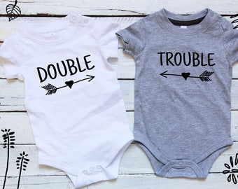 Double Trouble twins, Baby shower twins, Twins Set, Sibling Shirts, Newborn twin outfits, Gifts for twins, Twinning, Matching twin outfits