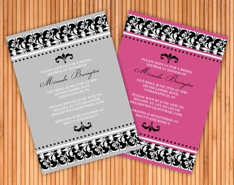 Damask Bridal Shower Invitation - 4 Colors Available