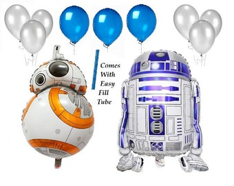 11 Piece Set Large R2D2 & R2D2 Foil Balloon for Star Wars Birthday Decoration with Silver and Blue Balloons