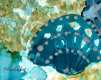 "Fossils 2, alcohol ink art by Yolanda Koh, 7"" x 5"" Prints"