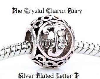 European LETTER T Charm Silver Plated INITIAL with Crystals / Charm Bead Fits Large Hole / Pandora / European / Bracelets / Necklace