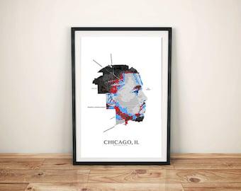 Kanye West Poster, Chicago Map, Chicago Art, Chicago Print, Music Print, Kanye West Art, Chicago Artwork