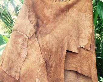 Vintage 70's distressed suede indian skirt