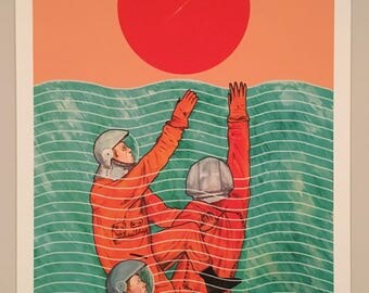 Cosmonauts in the ocean – a fine art print by Robert Clear