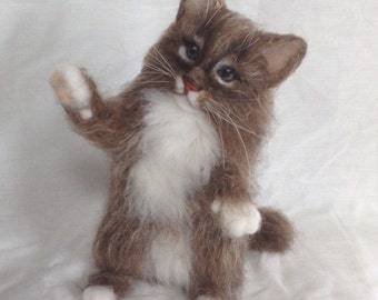 Needle Felted Kitten Cat Cute Animal Memorial Ready to Ship
