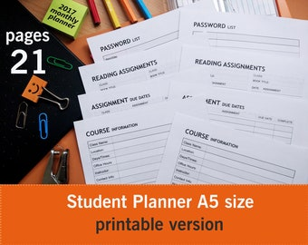 student planner, student planner 2017-2018 A5, college student planner, academic planner A5, study planner