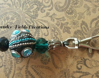 Turquoise, Black and Silver Keychain/Zipper Pull with Lobster Claw Clasp (20172K)
