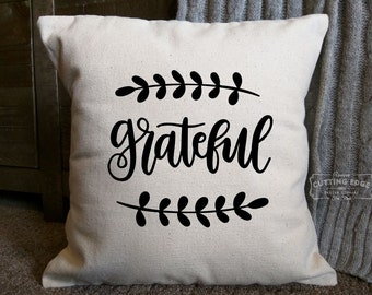 Grateful Cotton Canvas Natural Pillow | Throw Pillow | Decor Pillow | Graphic Pillow | Housewarming Gift | Pillow With Quote | Spiritual