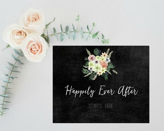 Wedding chalkboard sign, Rustic wedding decorations, Rustic wedding signs, DIY Wedding centerpiece, Decorative Chalkboard Happily Ever After
