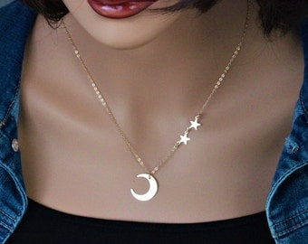 SALE Moon and Stars Necklace, Star Moon Necklace, Star and Moon Necklace in 14k Gold Fill, Crescent Moon Necklace Gold,Moon Star Jewelry