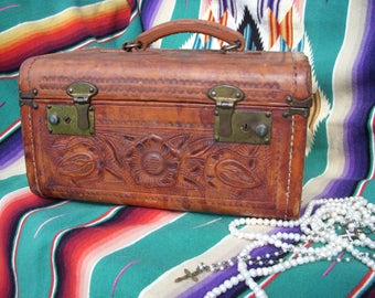 Vintage Tooled Leather Flores Train Case