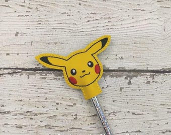 Pika Pencil Toppers - Pokemon Inspired - Party Favor - Valentine - Small Gift - Back to School