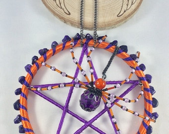 Pentagram, Sun catcher, Wall hanging, Spider, Metaphysical, Pentacle, Spirituality, Religion, window, Pagan, Witch, Wicca, Wiccan.