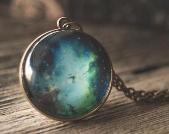 Outer Space Necklace, Eagle Nebula Pendant Necklace, Blue Green Nebula Necklace, Space Jewelry, Nebula Jewelry
