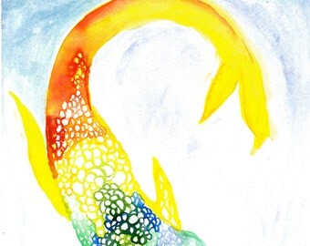 Watercolor koi fish etsy for Rainbow koi fish