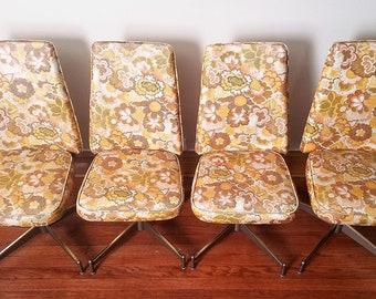 Set of 4 Vintage Douglas Furniture Swivel Kitchen/Dining Chairs