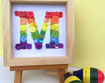 Personalised button initial artwork - framed button letter art - monogram - rainbow - nursery art