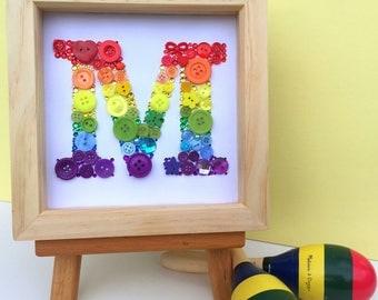 Personalised button initial artwork - framed button letter art - monogram - rainbow - nursery art
