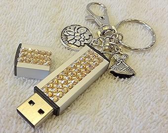 SALE-Rhinestone USB, Swarovski Gold 32GB Memory Stick Keychain, Silver Flash Drive, Gift for Mom