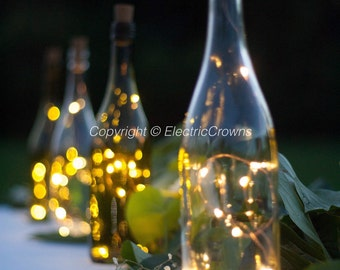Wine bottle Lights, Bottle Lights, Table Decor, Wine decor,Wedding Table, Fairy lights for Wine Bottles, Batteries INCLUDED in cork!