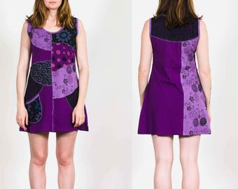 Purple Patchwork Dream Sleeveless Cotton Dress