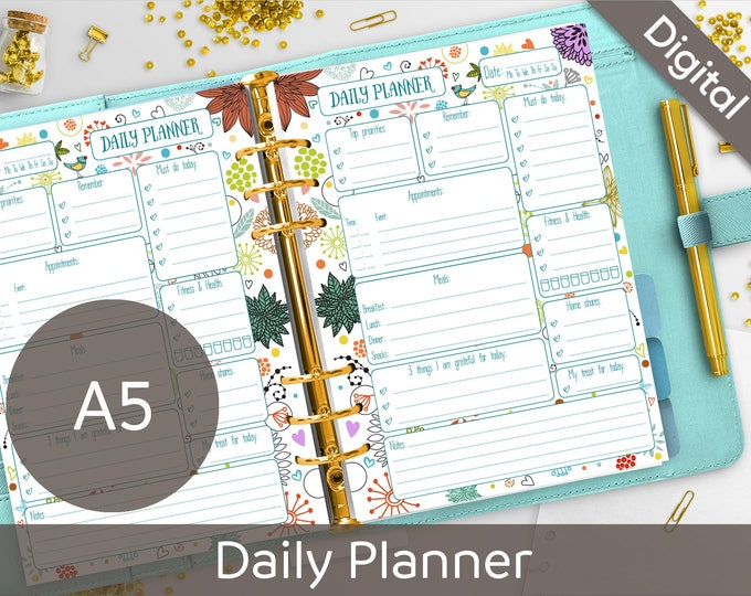 picture regarding Diy Planner Organizer called A5 Day by day Planner Printable, Filofax A5 dimensions printable refills, Syasia Lovely Floral Working day Organizer, Do-it-yourself Planner Web pages PDF Prompt Down load