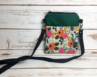 Rifle Paper Co. Floral Canvas/Emerald Green Waxed Canvas Cross Body Bag
