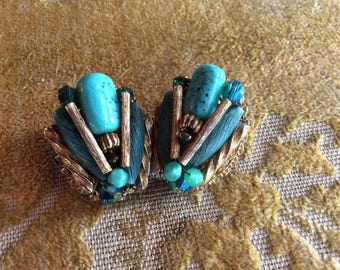 Turquoise costume earrings