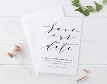 Printable Save The Date Wedding Card, Black and White Calligraphy Cursive Save The Date Wedding card