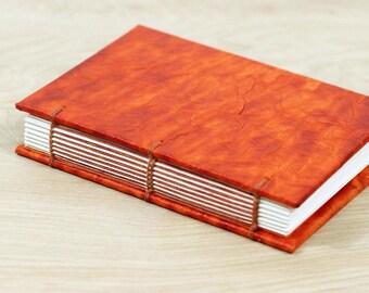 Mini Notebook, Small Sketchbook, Pocket Journal, Field Notebook, Art Journal, Orange, Faux Leather, Mens Notebook, Handmade Book, A7, Gift