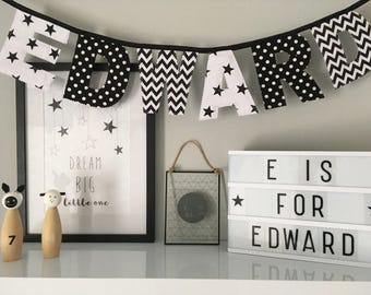 Black and White Personalised Name Bunting