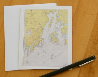 "Penobscot Bay Map Note Cards (1977) 4.25""x5.5"""