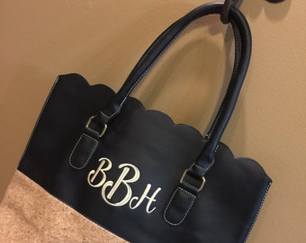 Personalized Monogrammed Black and Tan Cork Faux leather scalloped bag, scalloped tote, scalloped purse, Gift for Her
