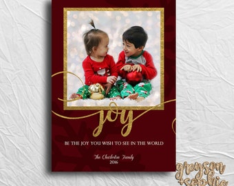 Be the Joy Holiday Card - Christmas Card - Joy in the World - Printable File - Print and Ship