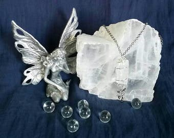Fairy Crystal Selenite Necklace - Natural Meditation Healing Jewelry for Mental Clarity and Peace