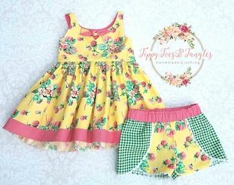Berry Picking Shorts Set/Girl's Raspberry Set/ Girl's Yellow and Pink Top/ Green Gingham Shorts/ Coachella Shorts Set/Summer Shorts Set