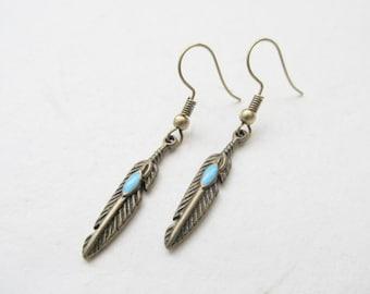 Feather earrings, bronze earrings, boho earrings
