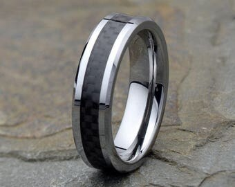 Mens Wedding Band Tungsten With Carbon Fiber Inlay Polished Beveled Edge Gift