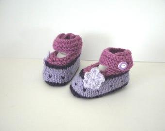 Slippers in wool 0/1 month Babies ballerinas baby girl birth purple flower