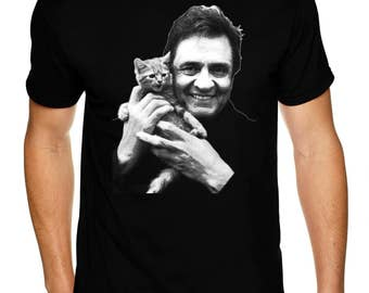 Johnny Cash With Kitten - Premium Sueded T Shirt