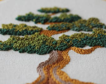 Hand Stitched Bonsai Tree Hoop Art