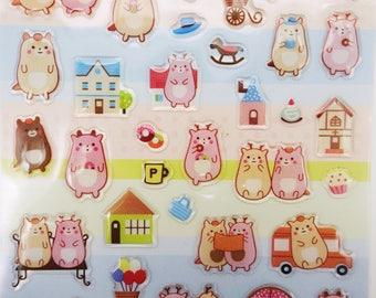 Kawaii mochi forest animal stickers! Cute cat stickers, deer stickers, matryoshka doll stickers, planner stickers, zakka stickers, chubby