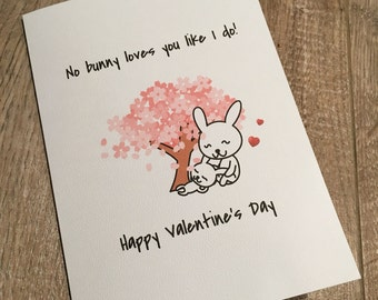 Cute Valentines Card, Bunny Themed Valentine Card, Rabbit Love Card, Funny  Valentine Card