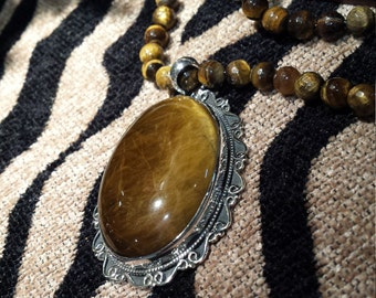 Sterling silver tiger eye pendant with tiger eye necklace