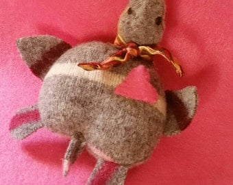 Tiny Turtle Pocket Pet Stuffed Doll Soft Sculpture Needle Sculpted Upcycled Wool