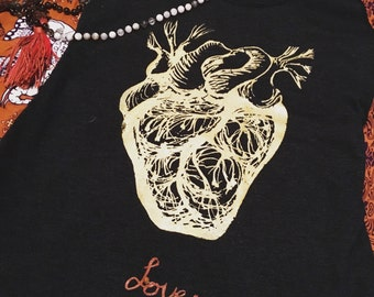 """The """"Love"""" Sacred Heart Tank. The New Style screen printed anatomical Heart tee. Soft tri blen cotton. Yoga, meditation, hikes...and LOVE"""