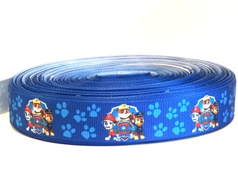 1 Metre Paw Patrol cartoon grosgrain Ribbon 22mm wide for cake, hair, crafts, gift wrapping, scrap booking