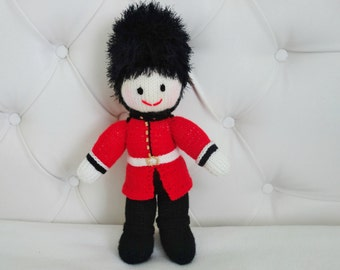 Hand Knitted London Queens Guard Doll -  London Soldier Doll - British Doll - Size 13 Inches (MADE TO ORDER)
