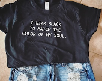 Womens Graphic T Shirt Funny Graphic Tee Black Soul Shirt