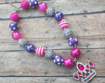 Princess Necklace - Birthday Princess - Princess necklace - Chunky necklace - Bubblegum Necklace - Toddler necklace - Crown necklace